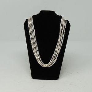 "Jewelry - 19"" Vintage 5 Strand Pearl Necklace 14K Filigree"